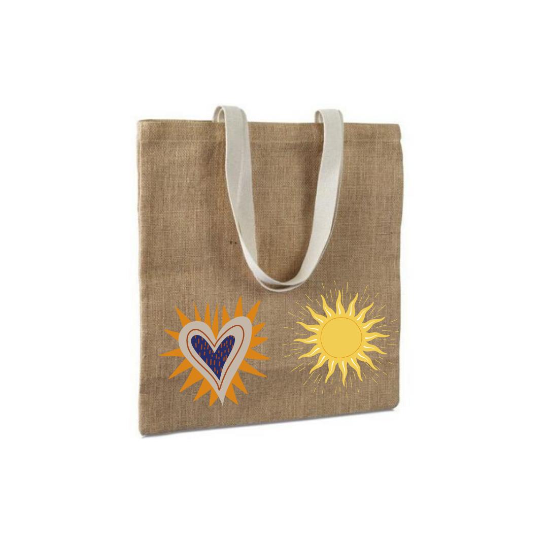 Bolsa de tela personalizada con sol y corazón