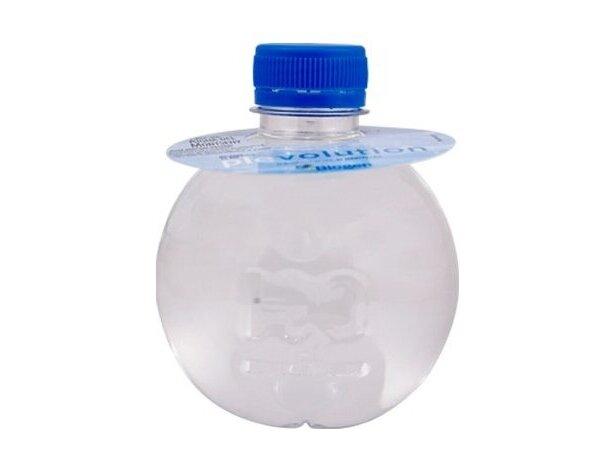 Botella de agua redondeada con collarín de papel