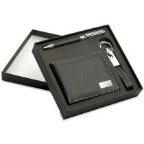Set de bolígrafo con llavero y cartera personalizado negro