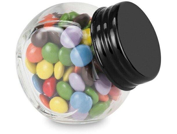 Chocolates en bote de cristal con tapa negro