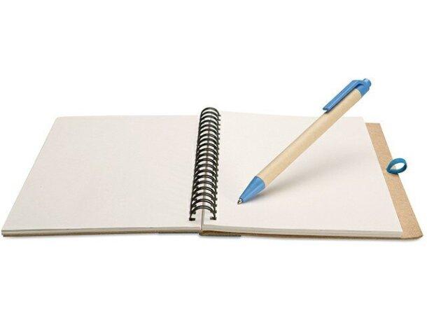 Libreta con bolígrafo en cartón reciclado barata