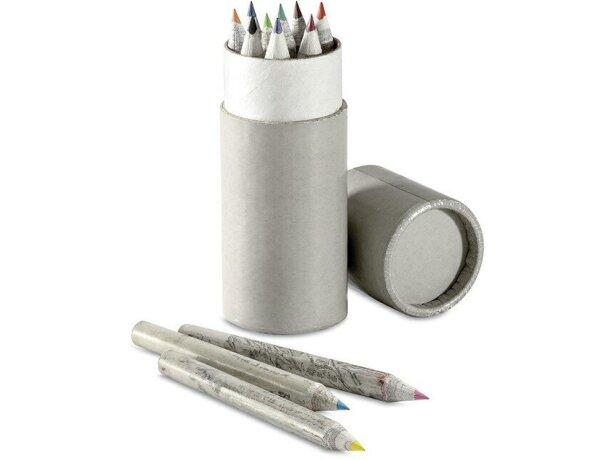 Tubo circular gris con lápices personalizado gris claro