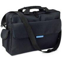 Portadocumentos con bolsillos exteriores con logo azul