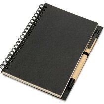 Libreta con bolígrafo y tapas en cartón reciclado negra personalizado