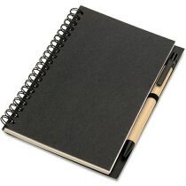 Libreta con bolígrafo y tapas en cartón reciclado personalizada negra