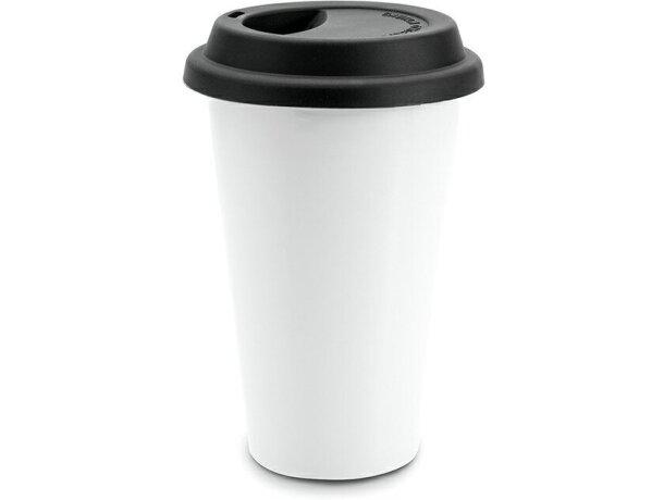 Vaso de plástico con tapa de doble pared negro personalizado
