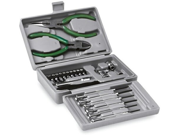 Caja de herramientas con 25 piezas plateado barato