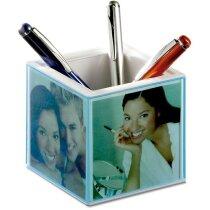 Lapicero en forma de cubo con reloj personalizado azul transparente