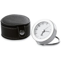 Reloj de viaje en estuche de polipiel personalizado negro
