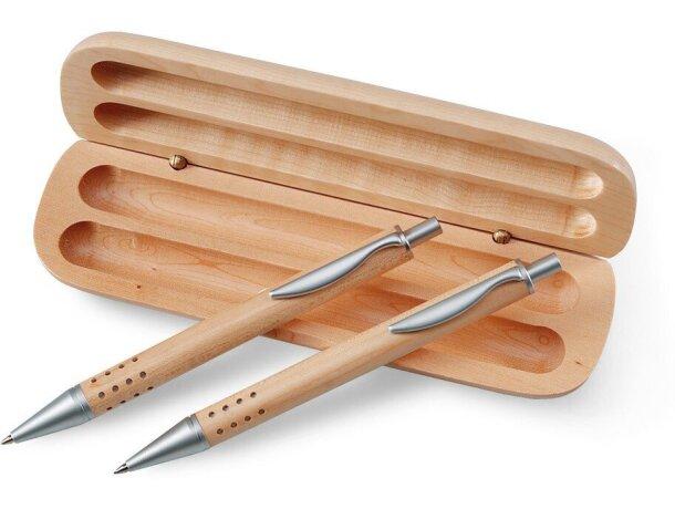 Estuche de bolígrafo y lápiz en madera barato madera