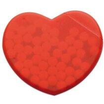 Caja de caramelos con forma de corazón roja