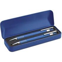 Set De Boligrafos En Estuche Azul Personalizado Azul