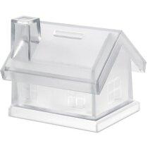 Hucha de plástico forma de casa merchandising violeta