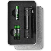 Linterna led de aluminio en caja personalizada negra