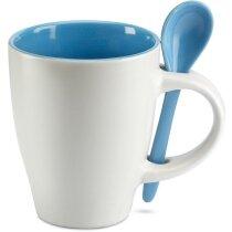 Taza de cerámica cónica con cuchara azul