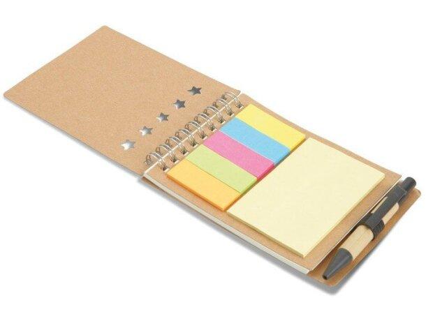 Libreta con kit de notas adhesivas beige personalizado