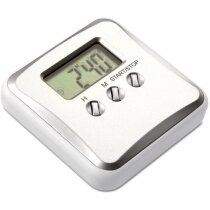 Reloj de cocina digital con logo plateado mate