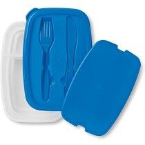 Fiambrera con dos compartimentos personalizada azul