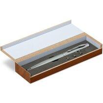 Bolígrafo personalizado con láser en estuche personalizado plateado