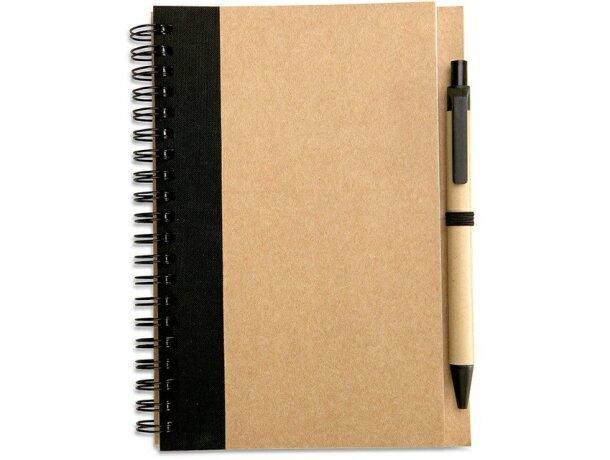 Libreta con bolígrafo en cartón reciclado personalizada negra