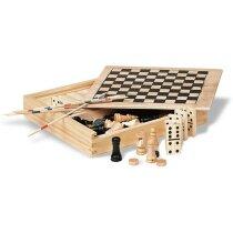4 juegos en 1 en caja de madera personalizado madera