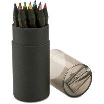 Caja de lápices de colores en madera negra personalizada negra