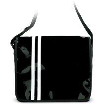 Bolsa bandolera con raya doble personalizada negra