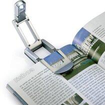 Luz de lectura para libros personalizada plateado