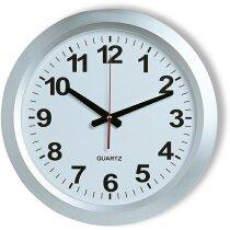 Reloj de pared analógico redondo personalizado plateado