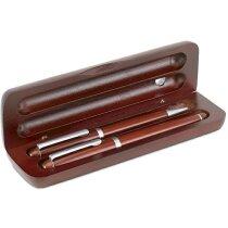 Estuche de bolígrafo y pluma economico plateado