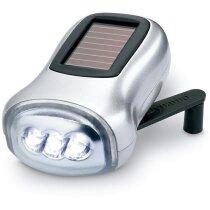 Linterna con carga solar y dinamo personalizada plateado mate