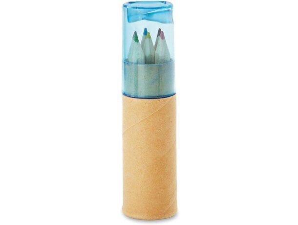 Tubo con 6 lápices de colores personalizado azul transparente