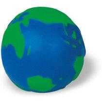 Pelota antiestrés forma globo terráqueo azul y verde