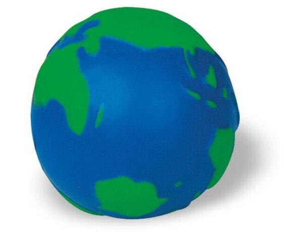 Pelota antiestrés forma globo terráqueo azul y verde personalizado