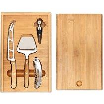 Set de regalo con accesorios para vino y queso personalizado madera