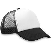 Gorra con rejilla trasera en colores combinados negra
