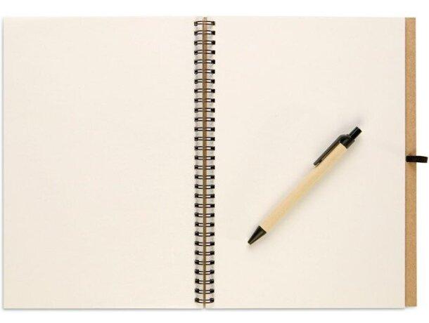 Libreta de cartón reciclado A4 con bolígrafo personalizada