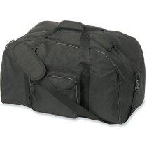 Bolsa personalizada de deporte con asa y bandolera grabado negra