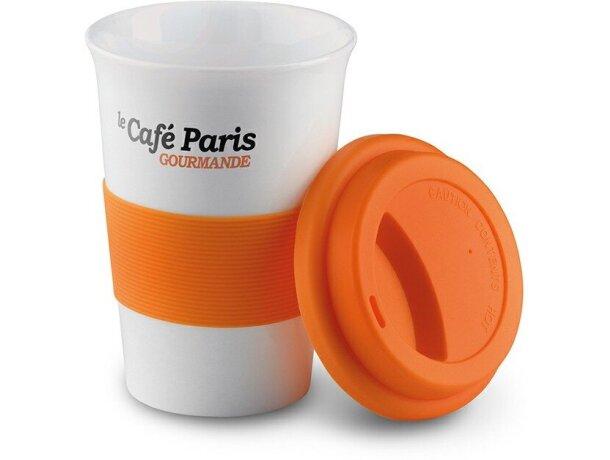 Taza de cerámica con tapa y banda de silicona barata