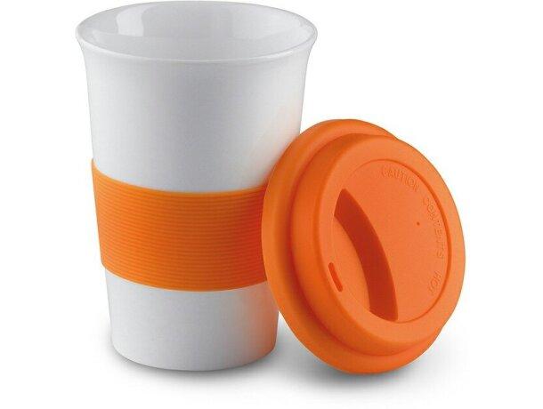 Taza barata de cerámica con tapa y banda de silicona personalizada