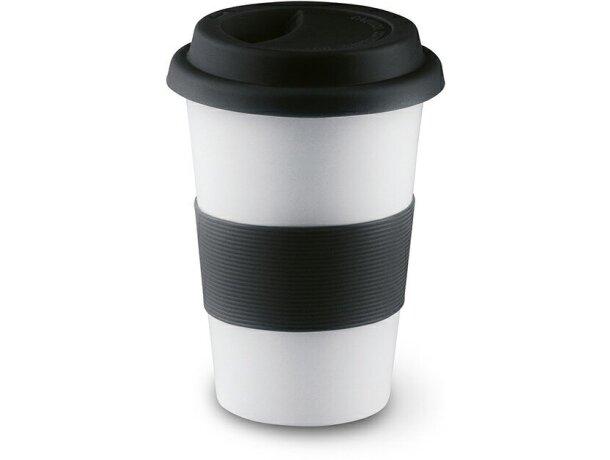 Taza de cerámica con tapa y banda de silicona personalizada negra