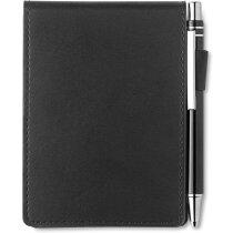 Juego de cuaderno con bolígrafo en tamaño A7 merchandising negro