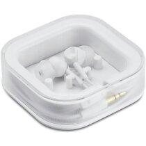 Auriculares de silicona en caja personalizado blanco