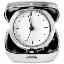 Reloj de viaje en estuche de metal grabado plateado brillante