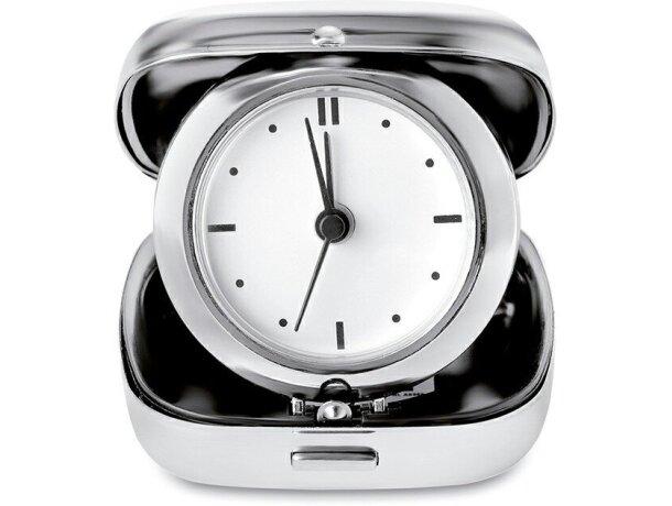 Reloj de viaje en estuche de metal merchandising plateado brillante