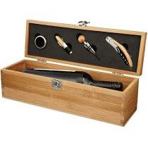 Set de vino con 4 accesorios y caja botellero de madera clara personalizado madera