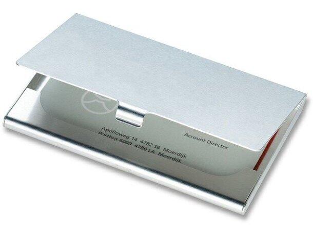 Tarjetero sencillo de aluminio barato plateado brillante