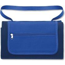 Mantel de picnic en bolsa con asa personalizado azul