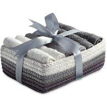 Set de 6 toallas pequeñas en cesta de regalo personalizado gris claro