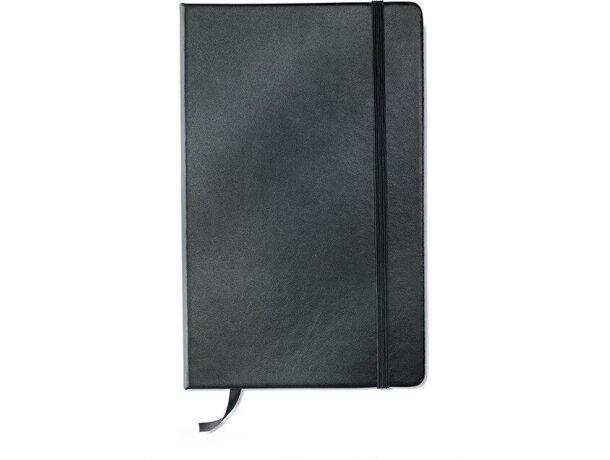 Cuaderno A5 con hojas rayadas negro grabada